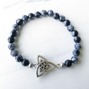 Celtic knot triquetra snowflake obsidian bracelet